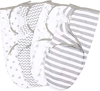 BaeBae Goods Swaddle Blanket, Adjustable Infant Baby Wrap Set of 4, Baby Swaddling Wrap Blankets Made in Soft Cotton