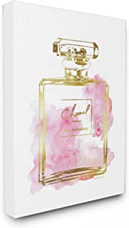Stupell Industries Glam Perfume Bottle Gold Pink Stretched Canvas Wall Art, Proudly Made in USA