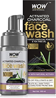 WOW Skin Science Activated Charcoal Foaming Face Wash - with Activated Charcoal Powder & Tea Tree Oil - Helps Lift Off Pol...