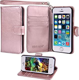 Wisdompro iPhone 5s Case, iPhone SE Case, Premium PU Leather 2-in-1 Protective Folio Flip Wallet Case with Kickstand and Credit Card Holder Slots for Apple iPhone SE, 5s, 5 - Rose Gold