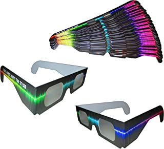 Rob's Super Happy Fun Store Fireworks Diffraction Glasses - Rave Waves - 50 Pair Paper Glasses - See Colorful Rainbows Around Points of Light Perfect for Festivals, Holiday Lights, Parties