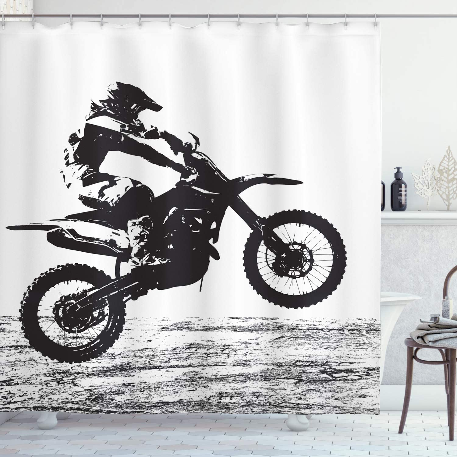 Lunarable Dirt Bike Shower Curtain Participating Motocros SEAL limited product Free Shipping Cheap Bargain Gift Rider