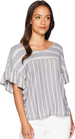Mix Stripe Ruffle Tee