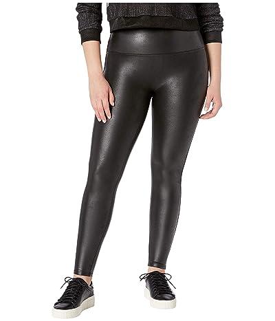 Spanx Plus Size Faux Leather Petite Leggings (Black) Women