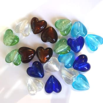 10 Glass Silver Foil 20mm Heart Beads AMBER BROWN