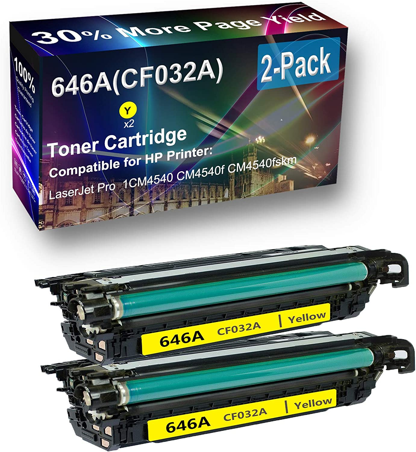 2-Pack (Yellow) Compatible High Capacity 646A (CF032A) Toner Cartridge use for HP CM4540 Printer