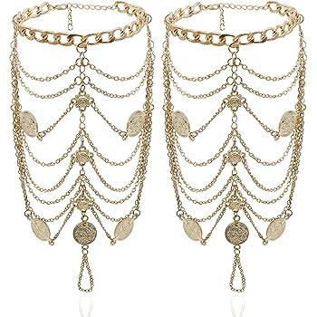 Bienvenu 2 PCS Multi Chain Beach Tassels Anklet Chain Bracelet Barefoot Sandals Foot Jewelry