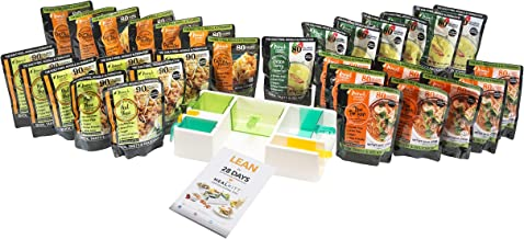 MealKitt All-In-One Portion Control, BPA Free Meal Prep Container System + The Lean 28 Day Diet/Training Guide,Color Coded,6 Containers + 30 Miracle Noodle Read to Eat Meals