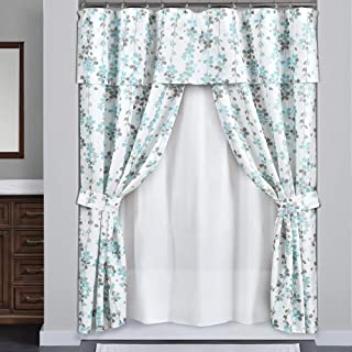 Lush Decor Weeping Flora Double Swag Shower Curtain with Peva Lining & Rings, Blue & Gray, 16 Pieces, Blue and Gray
