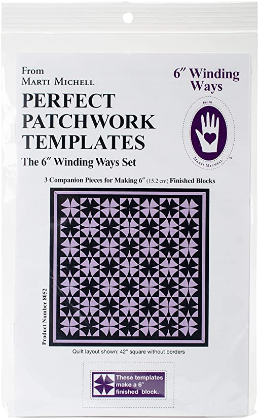Marti Michell 8052 Perfect Patchwork Template-Winding Ways (3 Pack), 6