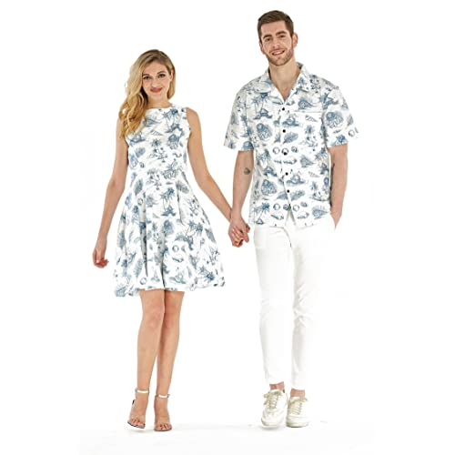 0203991a78 Couple Matching Hawaiian Luau Cruise Outfit Shirt Vintage Dress Classic  White