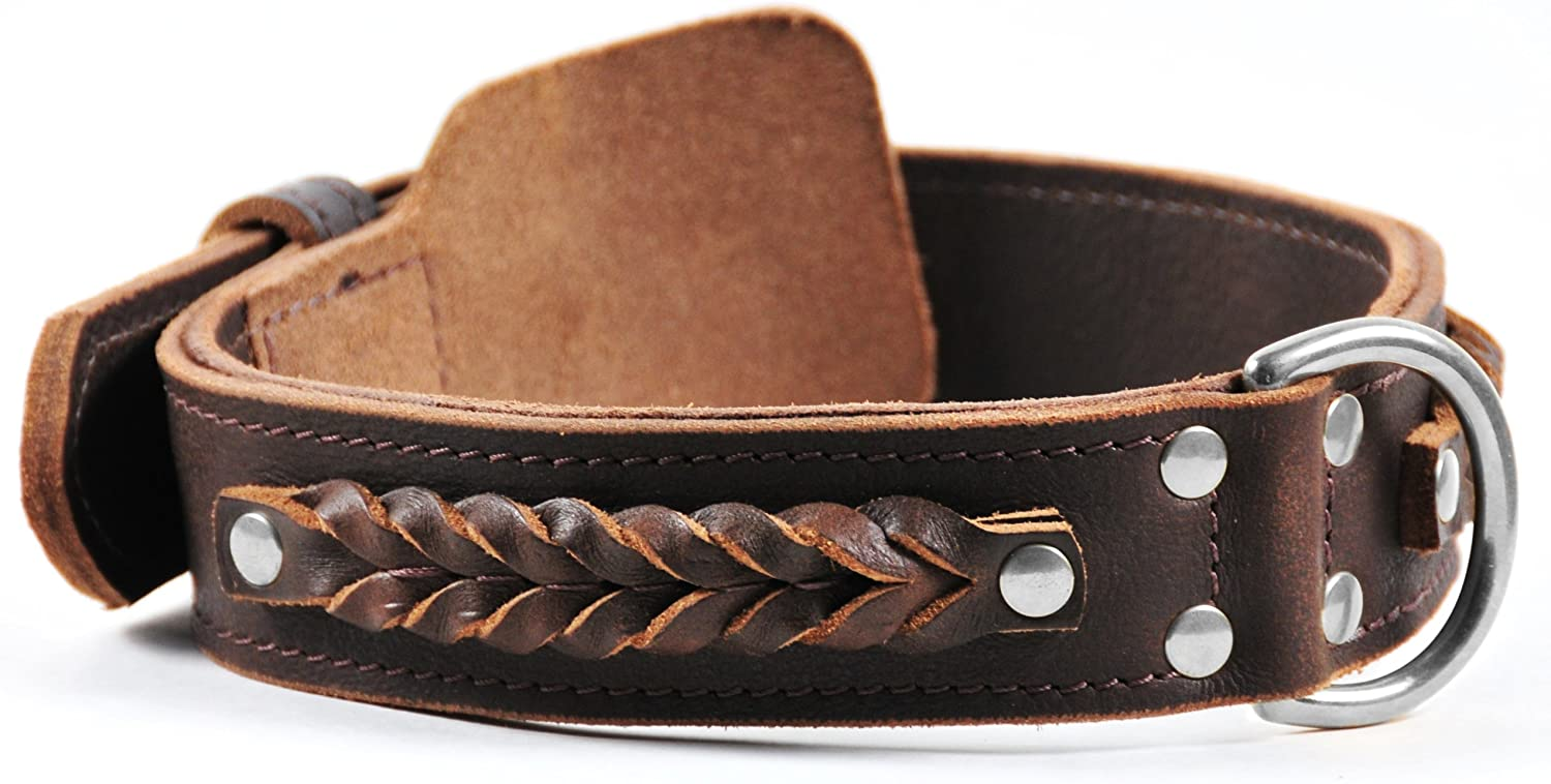 Dean and Tyler BRAIDED HEAVEN , Leather Dog Collar with Chrome Plated Steel Hardware  Brown  Size 28  by 13 4   Fits Neck 26  to 30