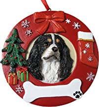 E&S Pets Tri-Color King Charles Personalized Christmas Ornament