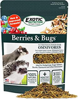 Berries & Bugs - All Natural High Protein High Fiber Food for Hedgehogs, Skunks, Opossums, Sugar Gliders - Universal Insectivore Diet with Fruit, Gut-Loaded Insects, & Healthy Vitamins