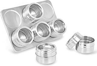 Internet's Best Magnetic Spice Rack | 6 Jars | Round Storage Spice Rack Set | Clear Sift and Pour Lid | Stainless Steel