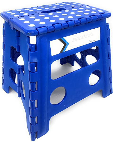 Folding Step Stool 13 Inches Height By Myth With Anti Slip Surface Great For Kitchen Bathroom Bedroom Kids Or Adults Super Strong Holds Up To 330 LBS Blue