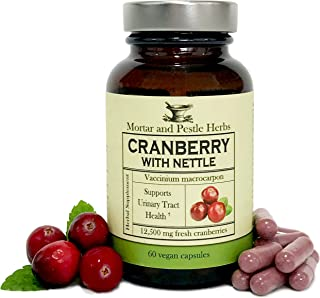 Mortar and Pestle Herbs - Extra Strength Cranberry Pills with Organic Nettle - 12,500 mg Fresh Cranberries per Capsule, Optimizes Urinary Tract UTI Health - Vegan and GMO Free - Made in the USA