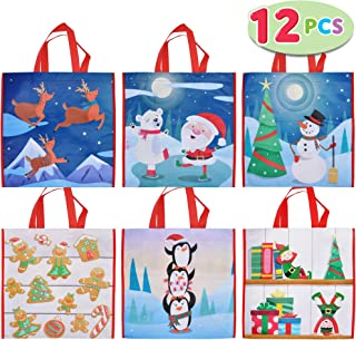"""12 PCs Christmas Large Tote Bags 13.75"""" X 14"""" Holiday Reusable Grocery Bags for Classroom Party Favor Supplies, Christmas Shopping Bags, Xmas Party Supplies Bags."""