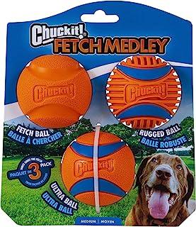Chuckit! Fetch Medley Gen 3 Rubber Dog Balls, Ultra Ball, Fetch Ball, Rugged Ball Launcher Compatible Chew Toys - Medium -...