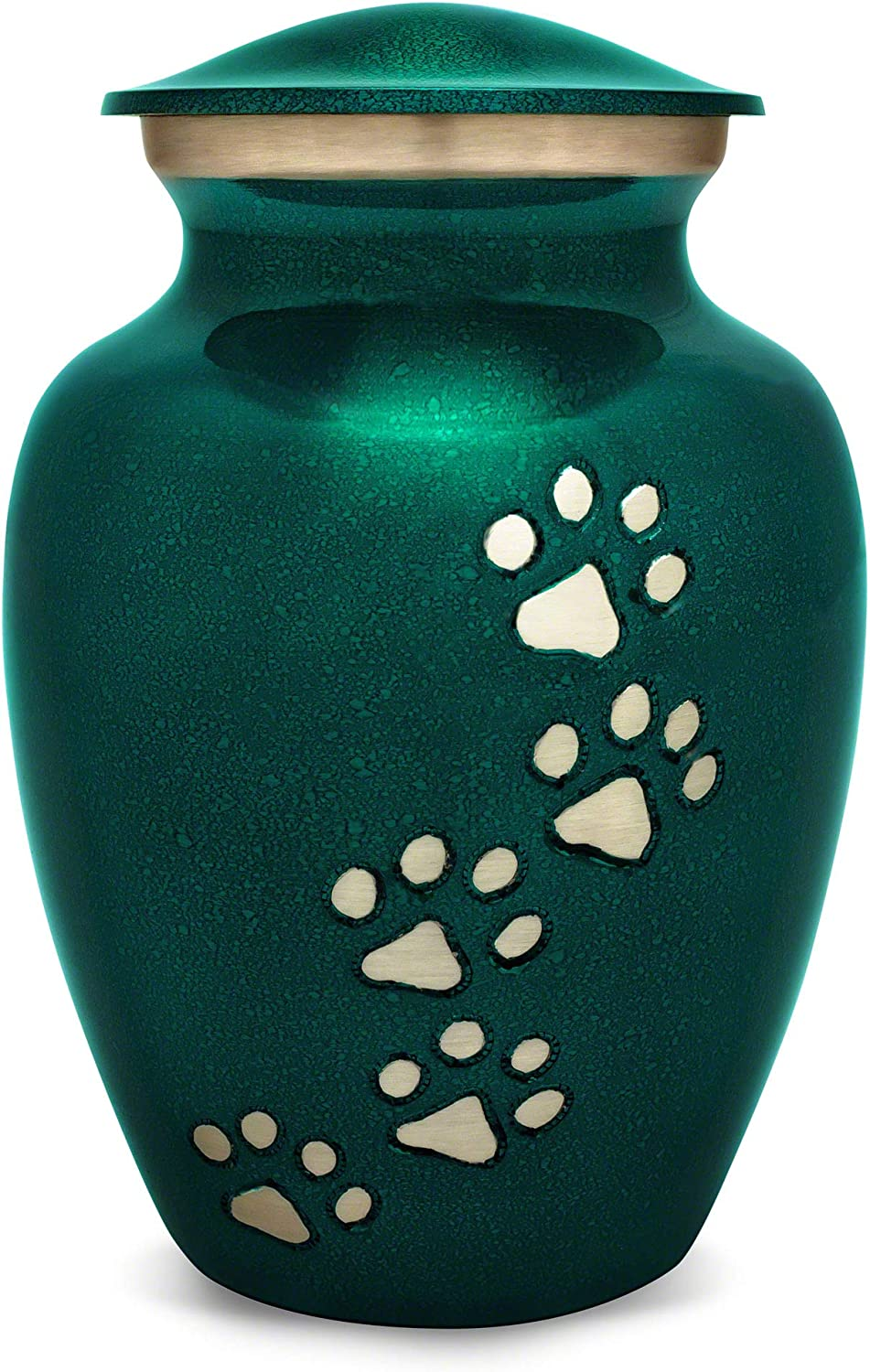 Best Friend Services Ottillie Paws Series Pet Urn Marine Green with greenical Pewter Paws (Small)
