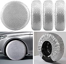 Kohree Tire Covers RV Wheel Covers Set of 4, for Rv Travel Trailer Camper, Waterproof UV Sun Tire Protector Aluminum Film,...