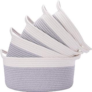 HAN-MM 5PCS Storage Baskets Woven Basket Cotton Rope Bin,Organizer for Baby Nursery Laundry Kid's Toy Gray
