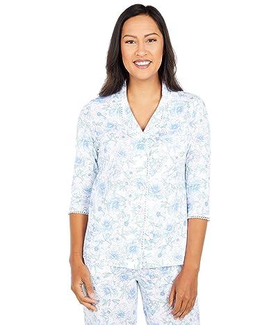 Carole Hochman Petite Soft Jersey 3/4 Sleeve Long Pajama Set (White/Blue Floral) Women