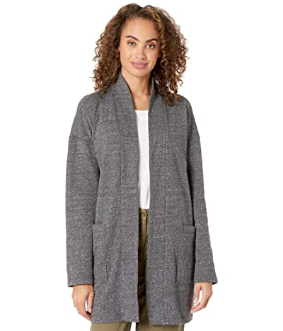 Eileen Fisher Double Layer Organic Cotton High Collar Jacket (Charcoal) Women