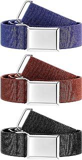 Hamry 3 Pieces Kids Adjustable Elastic Belt for Girls and Boys Elastic Belt for Jeans Pants, Black, Navy Blue, Brown