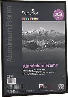 Stewart Superior A3 Fotolijst van geborsteld aluminium met plexiglas - zwart