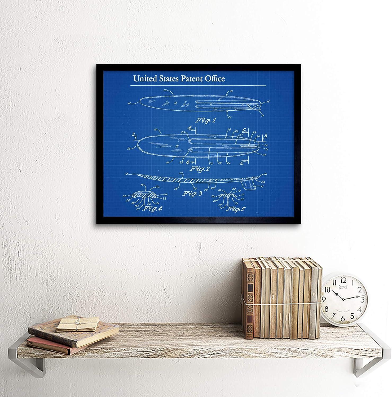 Lambach Surfboard Surfing 1967 Patent Plan Wall Art Print Framed 12x16