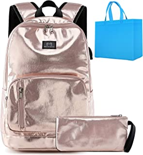 School Backpack for Teen Girls Lightweight Elementary School Bookbag with USB Port Kids School Bag with Coin Purse 2 in 1 Shiny Gold