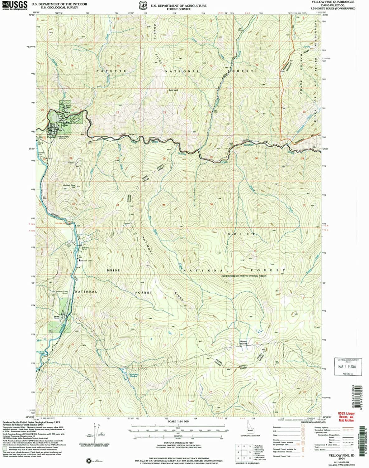 Yellow Pine ID topo map, 1 24000 Scale, 7.5 X 7.5 Minute, Historical, 2004, Updated 2007, 26.8 x 22 in