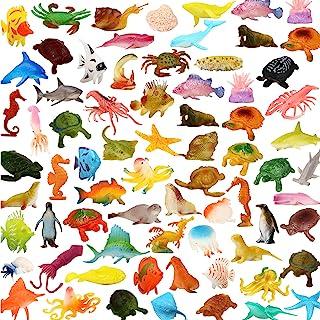 Ocean Sea Animals 78 Piece Mini Sea Life Creatures Toys Set ValeforToy Plastic Underwater Sea Animals Learning Toys For Bo...