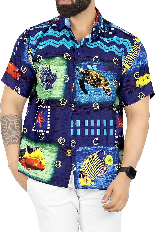 HAPPY BAY Men's 3D HD Ugly Funny Pool Beach Camp Short Sleeve Hawaiian Shirt