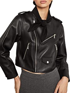 BCBG Max Azria Aubree Womens Leather Tie Neck Cropped Moto Jacket