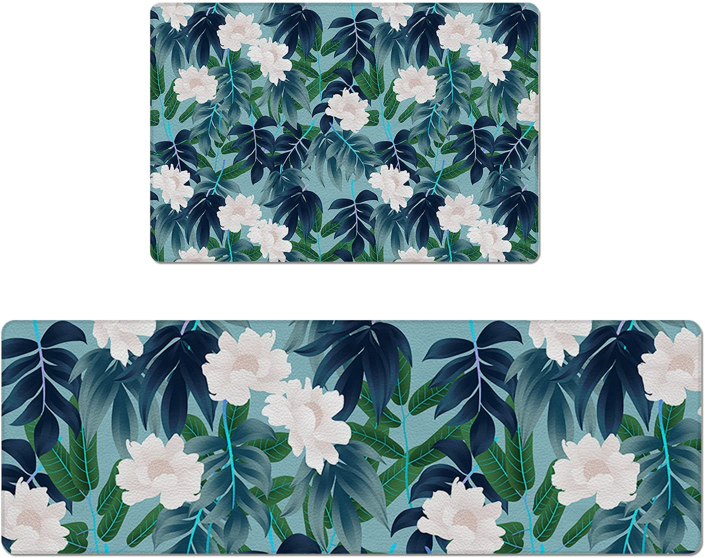 Set of 2 Kitchen Rug PVC C and Non-Slip Mats In a Max 58% OFF popularity Leather