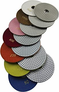 Konfor Diamond 5 Inch Wet Polishing Pads for Granite Concrete Marble Travertine Terrazzo Engineered Stone (Pack of 7)