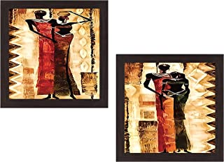 Wens 'Village Women Beauty Modern Art' UV Textured Wall Painting (Synthetic Wood, 35 cm x 71 cm x 2.5 cm, Brown, Set of 2)