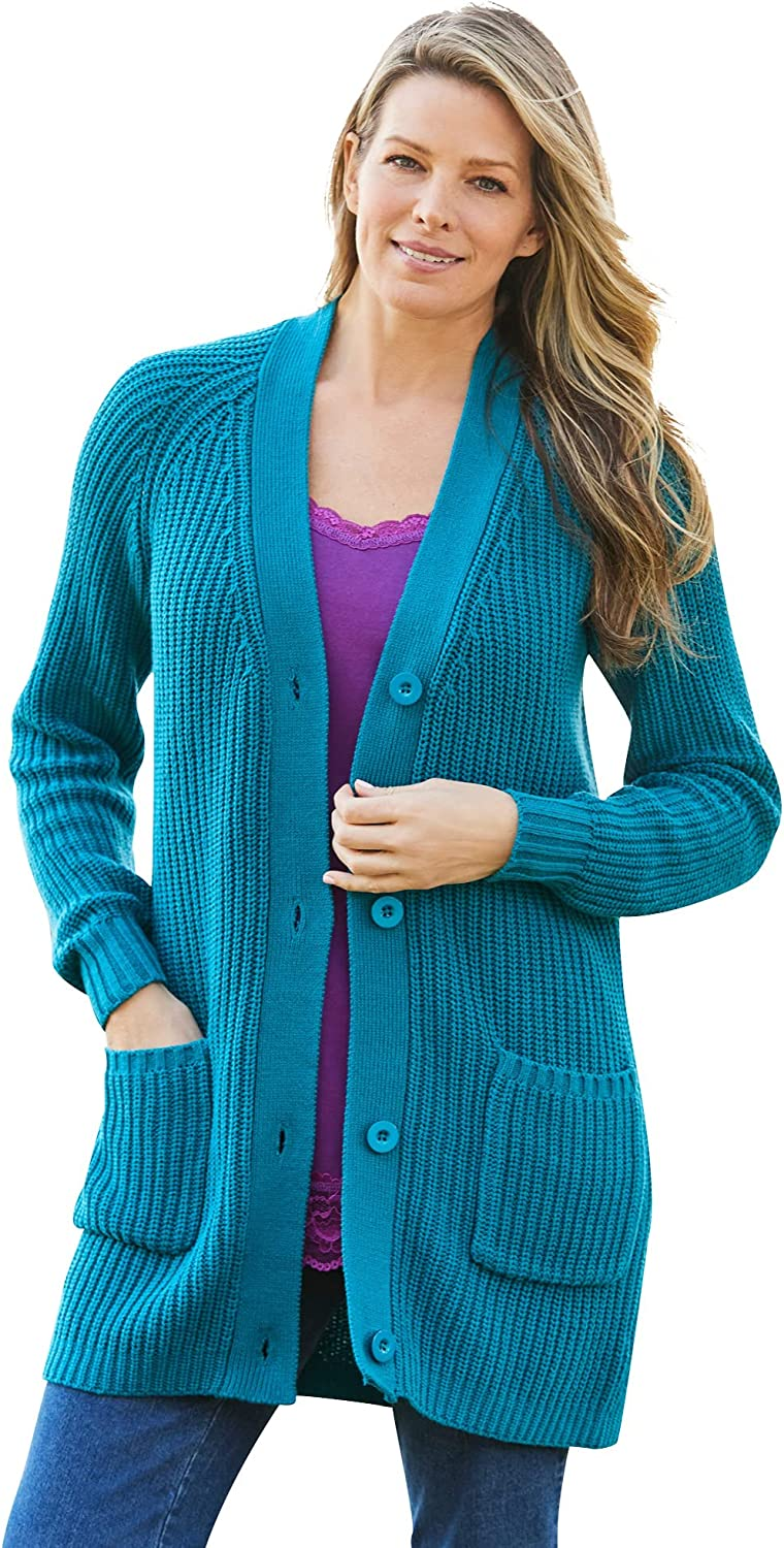 Woman Within Women's Many popular brands Plus Size Shaker Max 58% OFF Long-Sleeve Sweat Cardigan