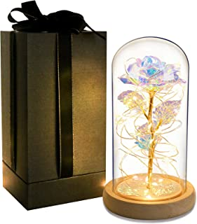Gift for Mom Galaxy Rose Gift 24K Gold Artificial Flower in Glass Dome Led Light String on Colorful Rose Present for Women...
