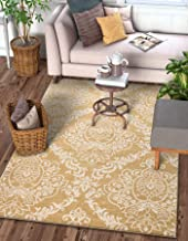 "Delicate Damask Gold Oriental Geometric Modern Casual Lattice Area Rug 5x7 ( 5'3"" x 7'3"" ) Easy Clean Stain Fade Resistant..."