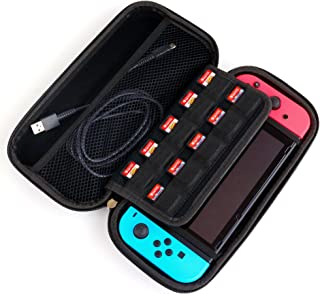 Nintendo Switch Case, Snugg Hard Shell Carrying Cover [10 Game SD Cartridge Holders] Protective Travel Bag Pouch for the Switch & Accessories, Black