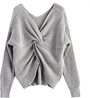 V Neck Women Sweaters and Pullovers Twisted Back Jumpers