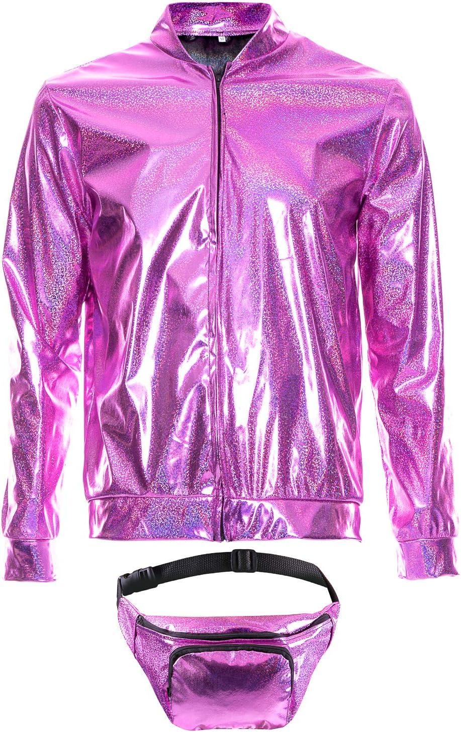 70s 80s 90s Foil Metallic Shiny Bomber Jacket Hologram Festival Fancy Dress