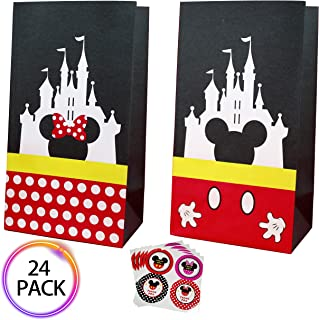 QMZ Party favor Gift Bags Candy Treat Bags Birthday Baby Shower Wedding Mickey Minnie Theme Decorations Supplies with Stickers Set of 24