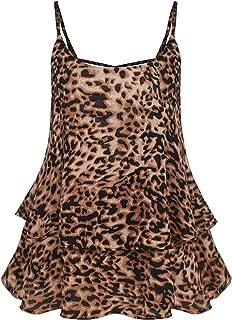 Women Sleeveless Strap Tank Top Chiffon Blouse Hollow Out Back Cami Vest