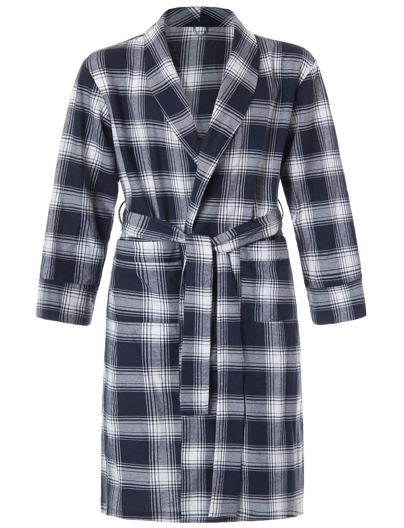 Image of Comfy Navy Blue Plaid Flannel Robe for Men - See More Colors