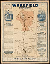 Historic Pictoric Map, 1870 Wakefield, Massachusetts : diagram showing the first ten miles of the Boston & Maine Railroad, Vintage Wall Art : 44in x 55in