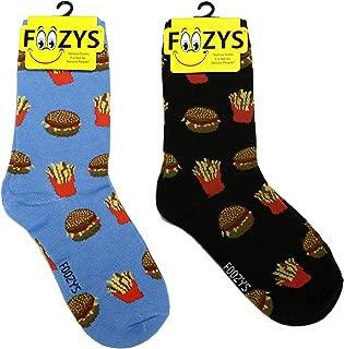 Women's Crew Socks | Cute Fun Food & Drink Novelty Socks | 2 Pairs